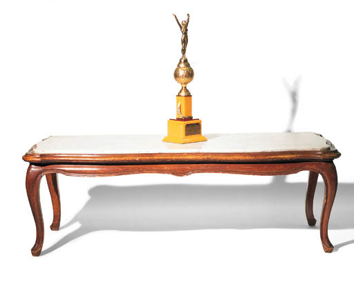 A LOUIS XV PROVINCIAL-STYLE FRUITWOOD AND VARIEGATED MARBLE COFFEE TABLE
