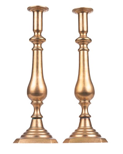 A PAIR OF BRASS TABLE CANDLEST