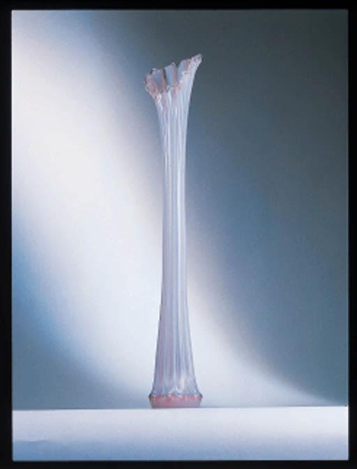 AN AMERICAN OPALINE GLASS VASE