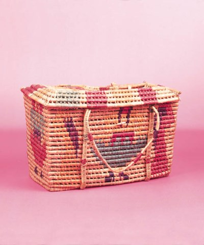 A MEXICAN BASKET AND TWO TRAYS