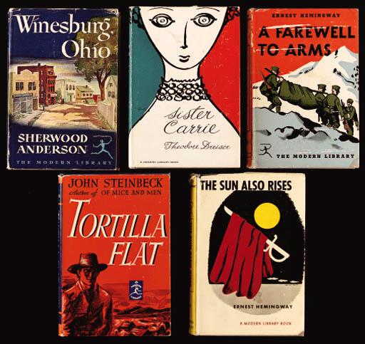 AMERICAN LITERATURE Nine books including works by HEMINGWAY, Ernest -- STEINBECK, John -- TWAIN, Mark. (9)
