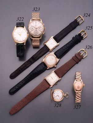 IWC. An 18K gold wristwatch wi