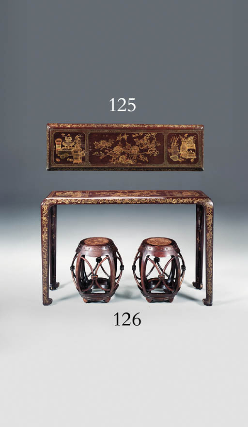 A PAIR OF CHINESE BURR-WOOD AN