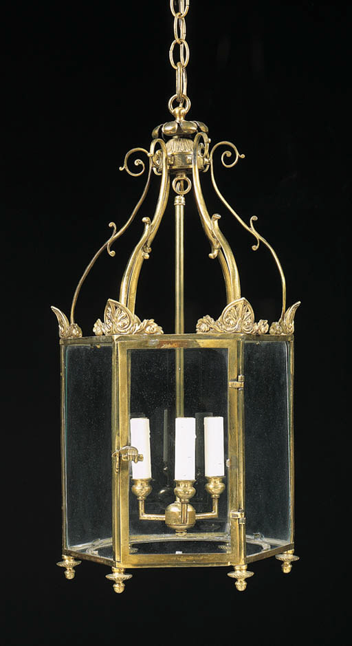 A REGENCY LACQUERED BRASS HALL