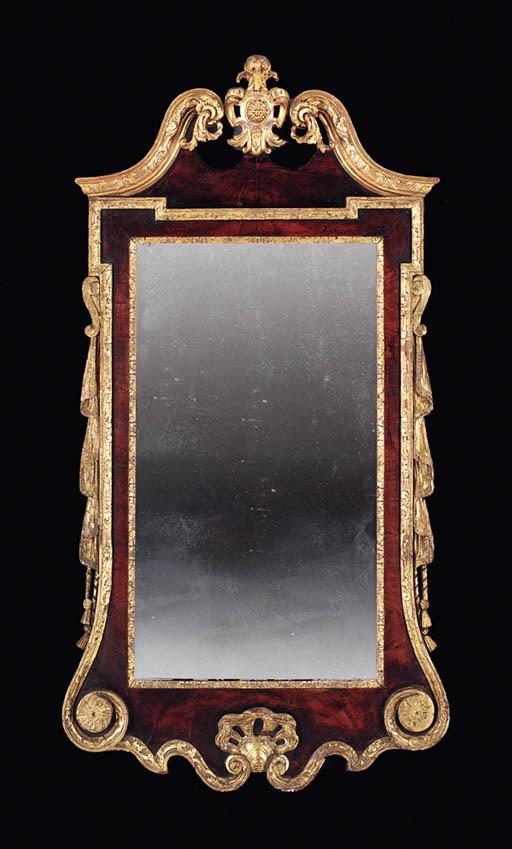 A GEORGE II PARCEL-GILT WALNUT
