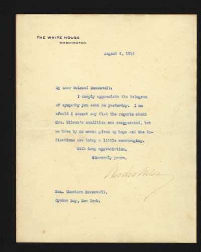 WILSON, Woodrow, President. Ty