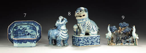 TWO BLUE AND WHITE BEASTS