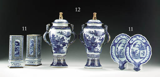 A PAIR OF BLUE AND WHITE LATTI