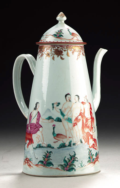 A 'JUDGEMENT OF PARIS' COFFEE POT AND COVER
