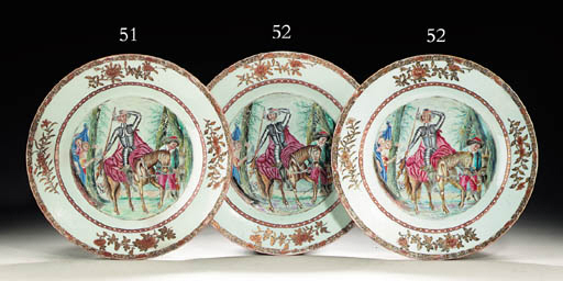 A PAIR OF LARGE DON QUIXOTE PLATES