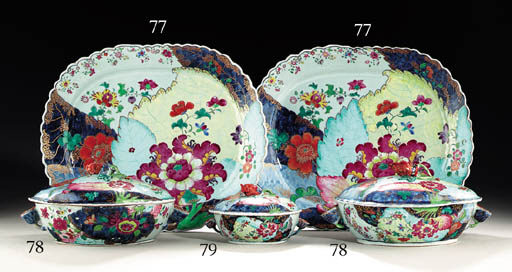 A PAIR OF TOBACCO LEAF TUREENS