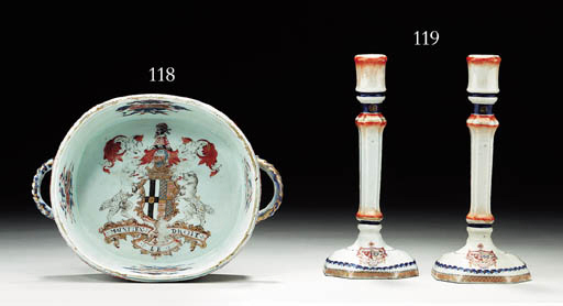 A PAIR OF ARMORIAL CANDLESTICK