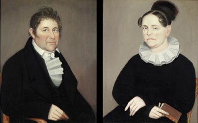 Ammi Phillips 1788 1865 A Pair Of Portraits Mr And