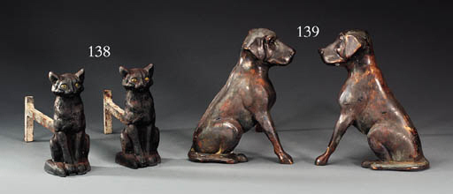 A PAIR OF CAST BRASS HOUND AND