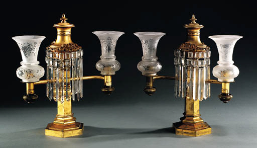 A PAIR OF BRASS AND GLASS ARGA