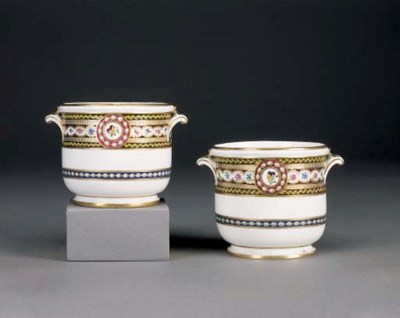 A PAIR OF SEVRES GLASS COOLERS
