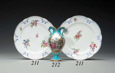 TWO SEVRES DINNER PLATES (ASSI