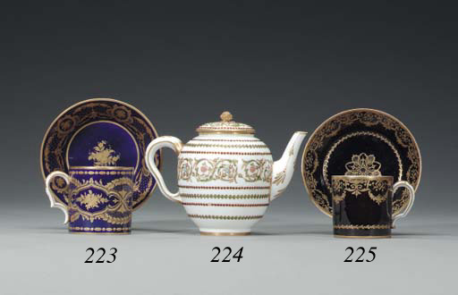 A SEVRES BLACK-GROUND COFFEE C