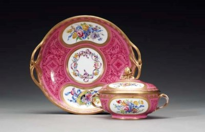 A SEVRES PINK-GROUND ECUELLE,
