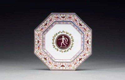 A SEVRES OCTAGONAL PLATE FROM