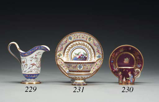 A SEVRES TWO-HANDLED CUP AND S
