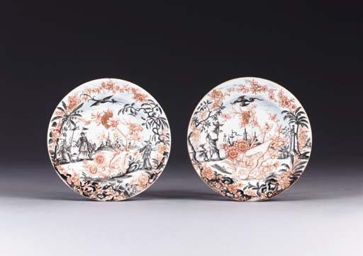 TWO CHINESE EUROPEAN-DECORATED