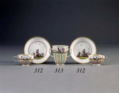 A MEISSEN GADROONED TWO-HANDLE