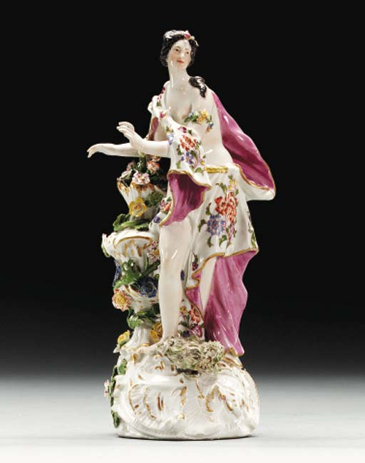 A MEISSEN FIGURE OF A NYMPH EM