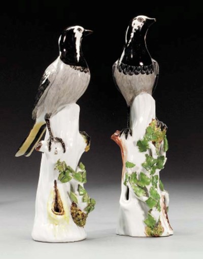 TWO MEISSEN MODELS OF PIED WAG