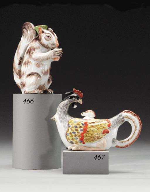 A MEISSEN HEN-FORM TEAPOT AND