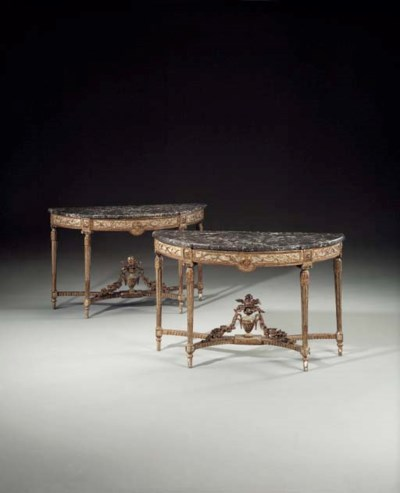 A PAIR OF LOUIS XVI GREY-PAINT
