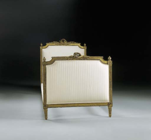A LOUIS XVI GILTWOOD BED