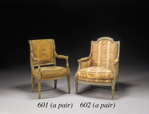 A PAIR OF DIRECTOIRE GREEN-PAI
