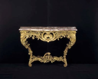 A LOUIS XV GILTWOOD CONSOLE