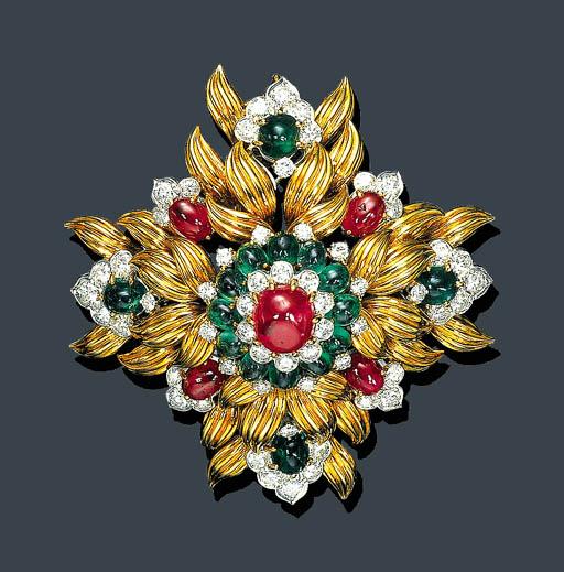 A CABOCHON RUBY, EMERALD, DIAM