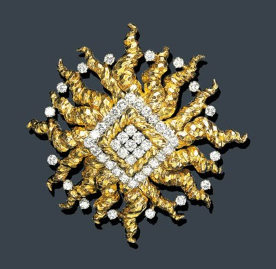 A GOLD AND DIAMOND BROOCH, DAV
