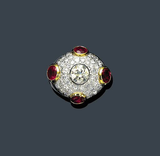 A DIAMOND AND RUBY RING, DAVID
