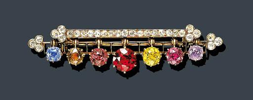 AN ANTIQUE DIAMOND AND GEM-SET