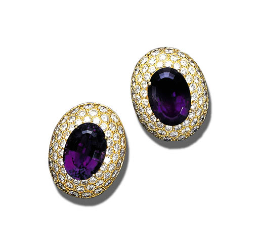 AN PAIR OF AMETHYST AND DIAMON