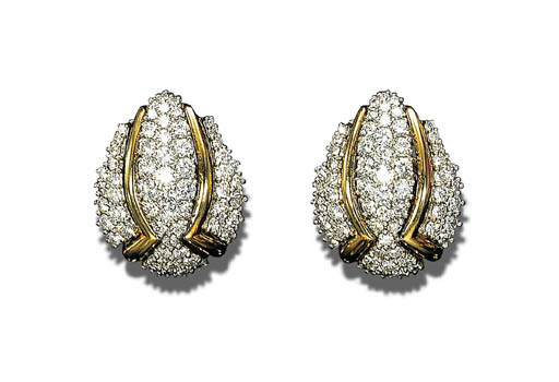A PAIR OF DIAMOND AND BICOLORE