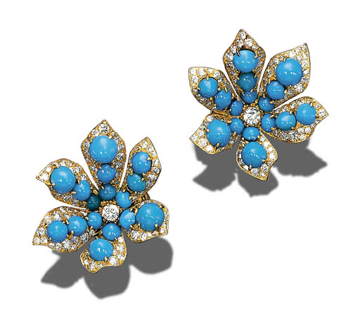 A PAIR OF DIAMOND, TURQUOISE A