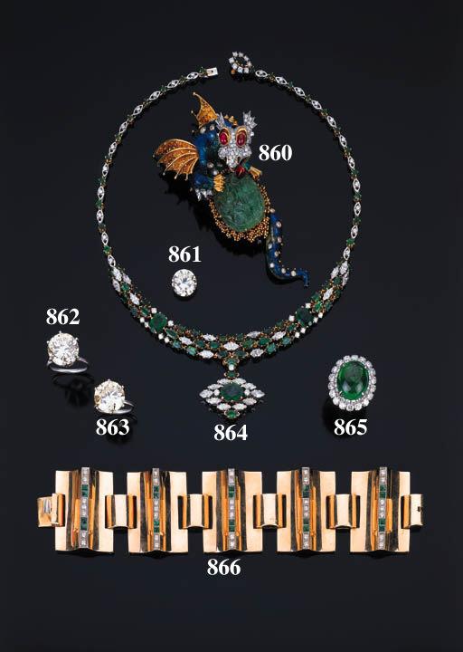Collana in diamanti e smeraldi