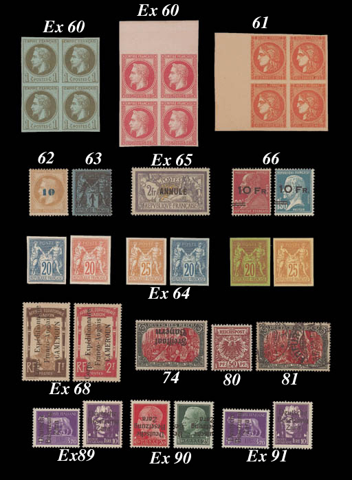 """Proof  1863-71 Laureated """"Rothschild"""" Printing, 1c. to 80c. mint set of eight in blocks of four, with the exception of the 1c. and 40c. all are marginal blocks and very fresh. A wonderful series. All accompanied by Robineau-Behr Certificate (1967). C.R25-32, FF.77,400. Photo for 1c. and 80c."""