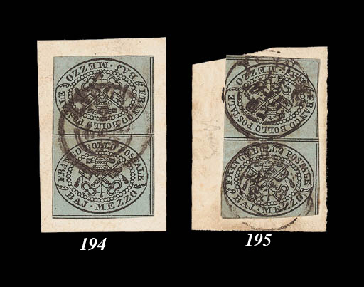 on piece  ½b. + ½b. blue-grey vertical tête-bêche pair [28/38], somewhat cut-into, on small piece tied by double-ring d.s. (13.3.52). A very fair example of this major rarity and together with the previous lot represents the two positions of the inverted cliché. Ex Broderip and Admiral Harris collections. Sass. 1f., L.70,000,000. Photo