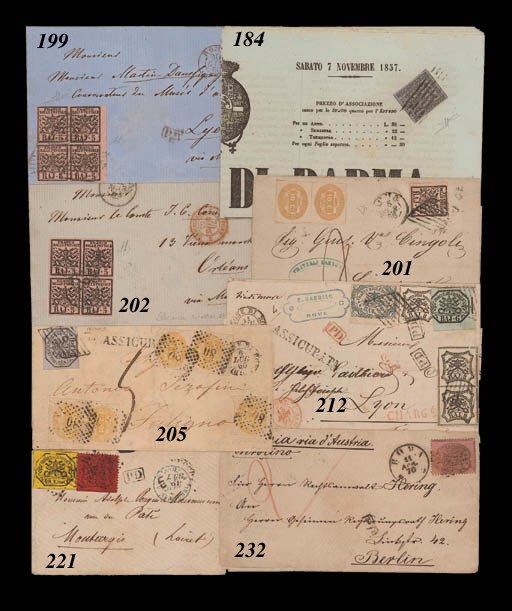 """cover 6b. grey-lilac cancelled by Rome grille on underpaid insured entire to Foligno, additionally franked by Kingdom 1863 imperforate Postage Due 10c. yellow pairs (2) and a single, cancelled by """"80"""" in rhomboid of dots, the single Due just cut-into, the other values with creases and other minor faults. Rare and full of character. Photo"""