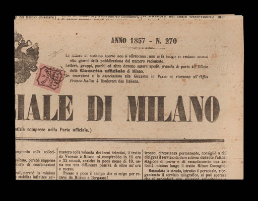 """cover 1857 (11 Nov.) """"Gazzetta Ufficiale di Milano"""" bearing 1857 (1 Nov.) Newspaper Postage Due 6c. bright rose  with large margins tied by the small grid cancellation of Piacenza. Extremely fine and rare. Sorani Certificate (1990). Sass. 1, L. Photo"""