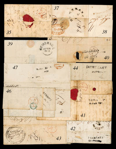 """cover 1820 (21 Apr.) entire letter to London, rated """"2/2"""" and showing, on reverse, a fine strike of the """"DEMERARY/21 APR 1820"""" two line d.s. (Type 3), unusually routed via St. Kitts and with fleuron d.s. for that island on face; rare, being one of six examples believed to exist. Photo"""