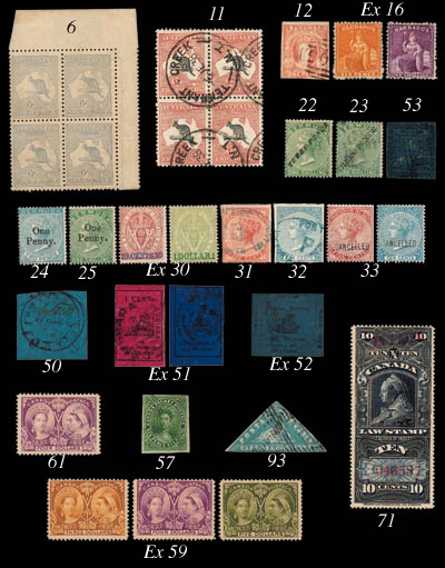 used  1856 surface-coloured paper 4c. black on magenta, two examples, one cut square and repaired, the other cut-to-shape, and paper coloured through 4c. black on deep blue cut-square though with corner added and other repairs. A rare trio. B.P.A. Certificate (1946) for 4c. black on blue. S.G. 24, 27; £62,000. Photo for last
