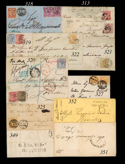 """cover 1860 (Oct.) yellow envelope to Bridgetown showing fine """"ST JOHN N.B/SHIP LETTER"""" h.s. overstruck by by handstruck """"6"""" with, on reverse, St. John N.B., Annapolis and arrival c.d.s.; the envelope a fraction soiled and with small tear at foot none of which significantly affects appearance. Photo"""