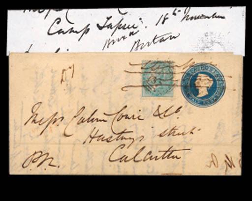 cover 1865 (18 Nov.) ½a. blue